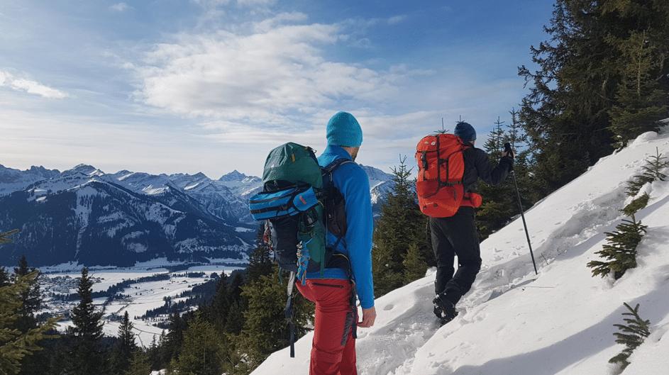 Aufstieg zur Bad Kissinger Hütte in der Winterlandschaft